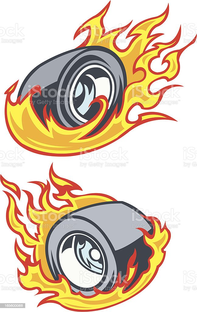 Race Car Tire - Burning Rubber vector art illustration