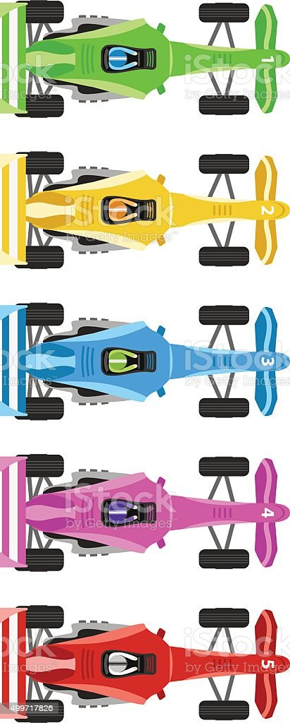 Race Cars vector art illustration