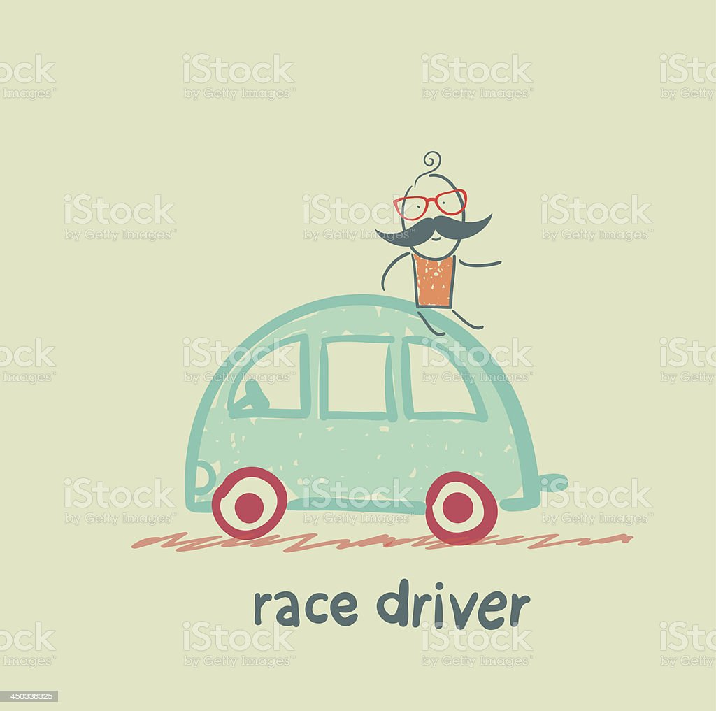 race driver sits on the machine royalty-free stock vector art