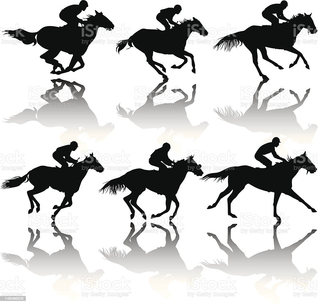 Race horse Silhouettes stock photo