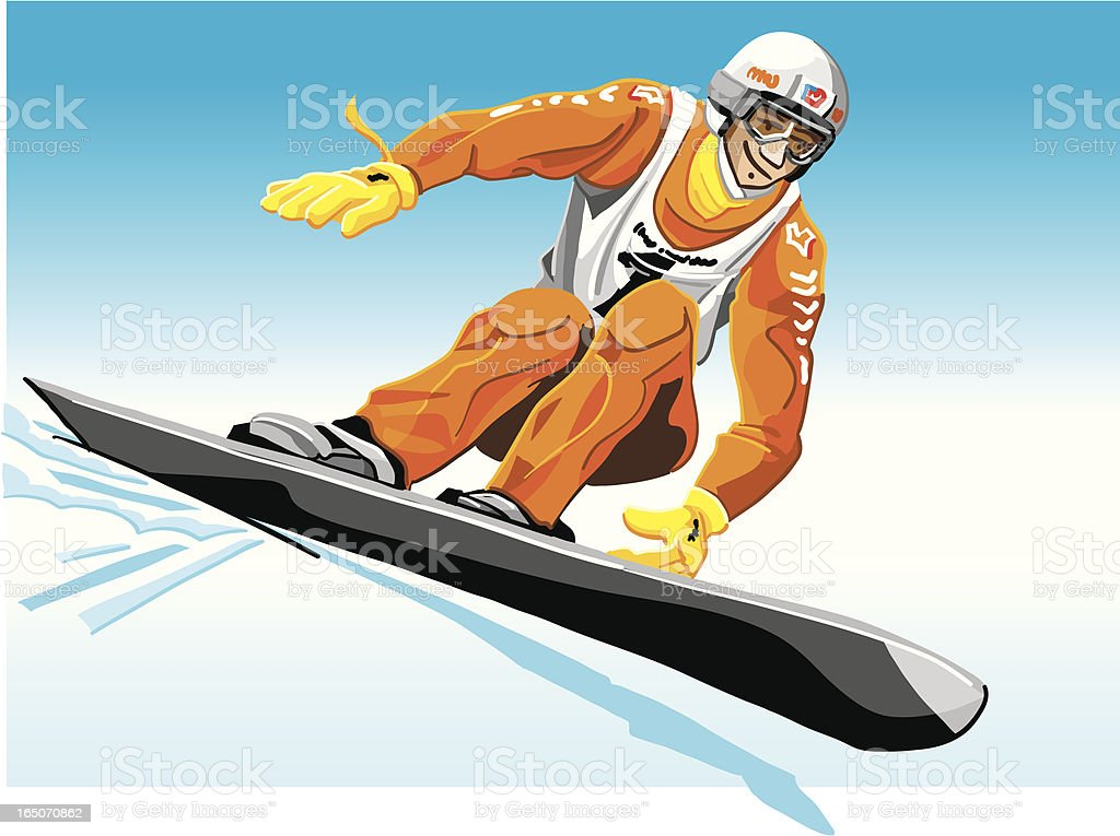 Race Snowboarder Orange royalty-free stock vector art