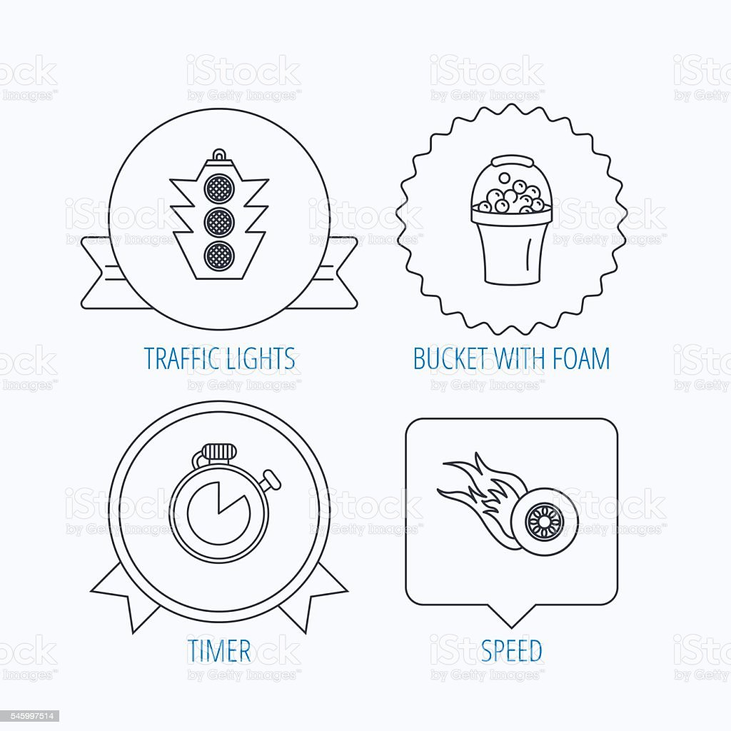 Race, traffic lights and speed icons. vector art illustration