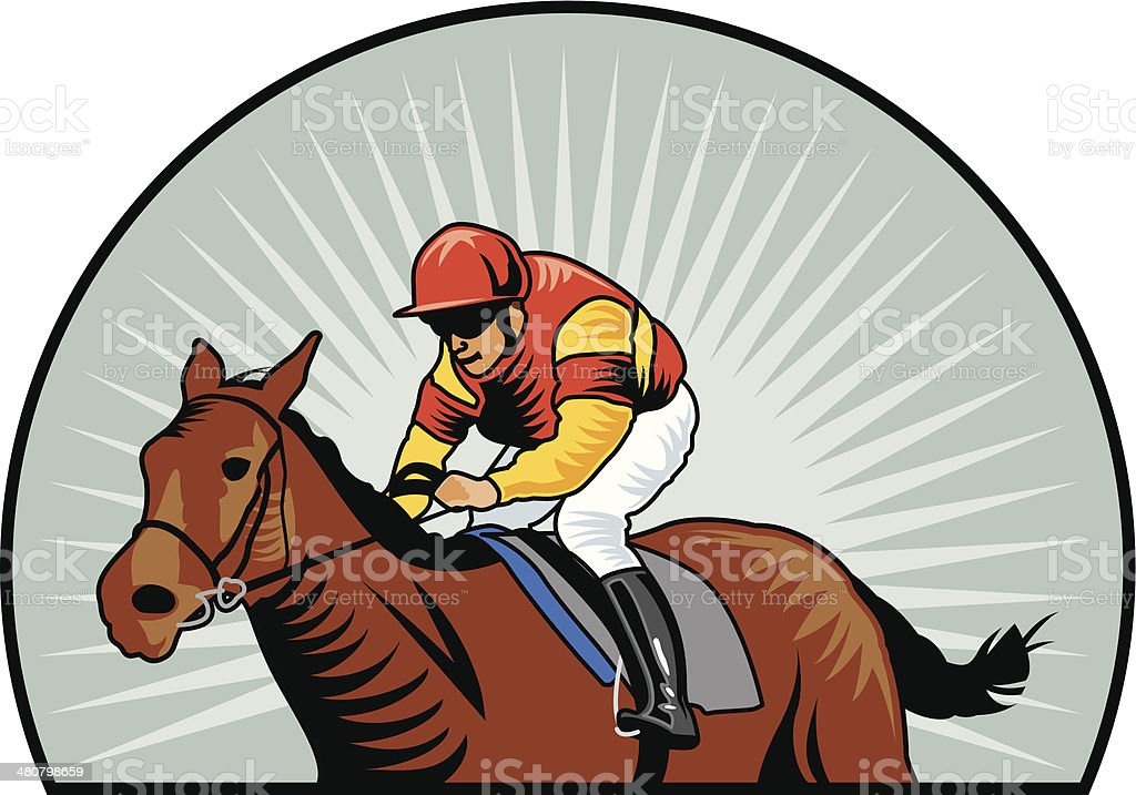Racehorse Jockey C vector art illustration