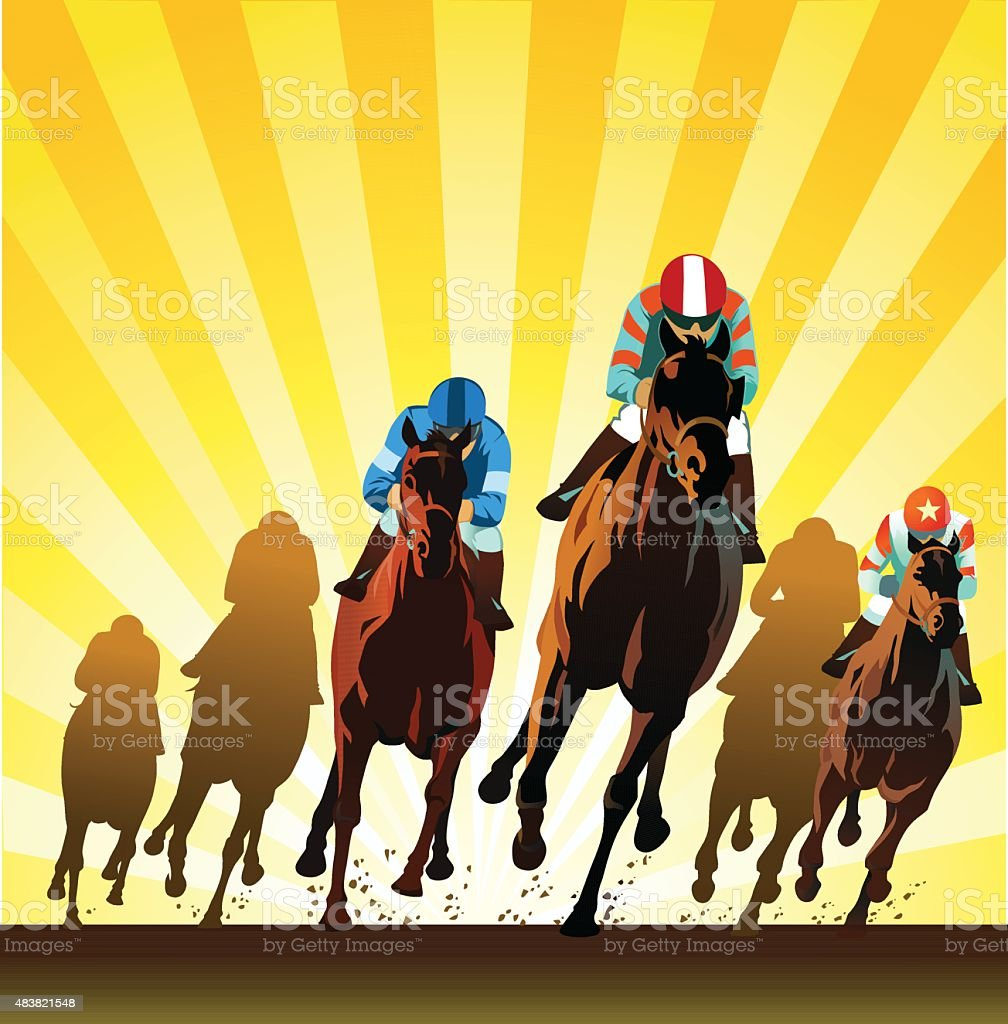 Racehorses Galloping on the Racing Track - Front View vector art illustration