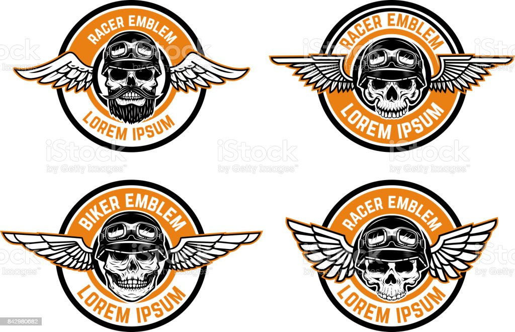 Racer emblems. Set of winged emblems with skulls. Design elements for biker club, racer community label, sign. Vector illustration vector art illustration