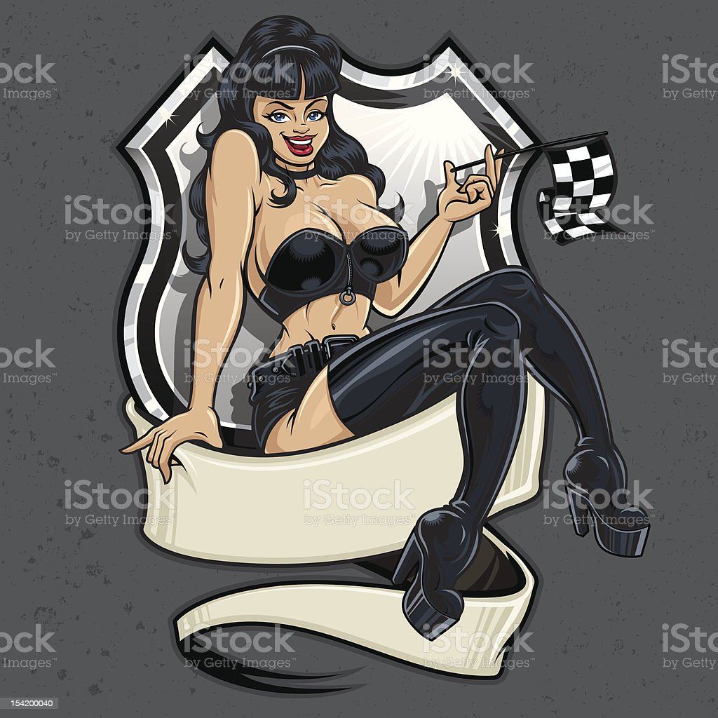 Racer Girl Pin-Up royalty-free stock vector art