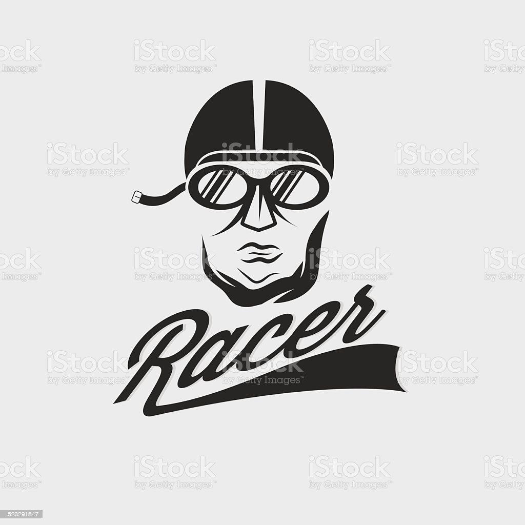 racer head vintage illustration vector art illustration