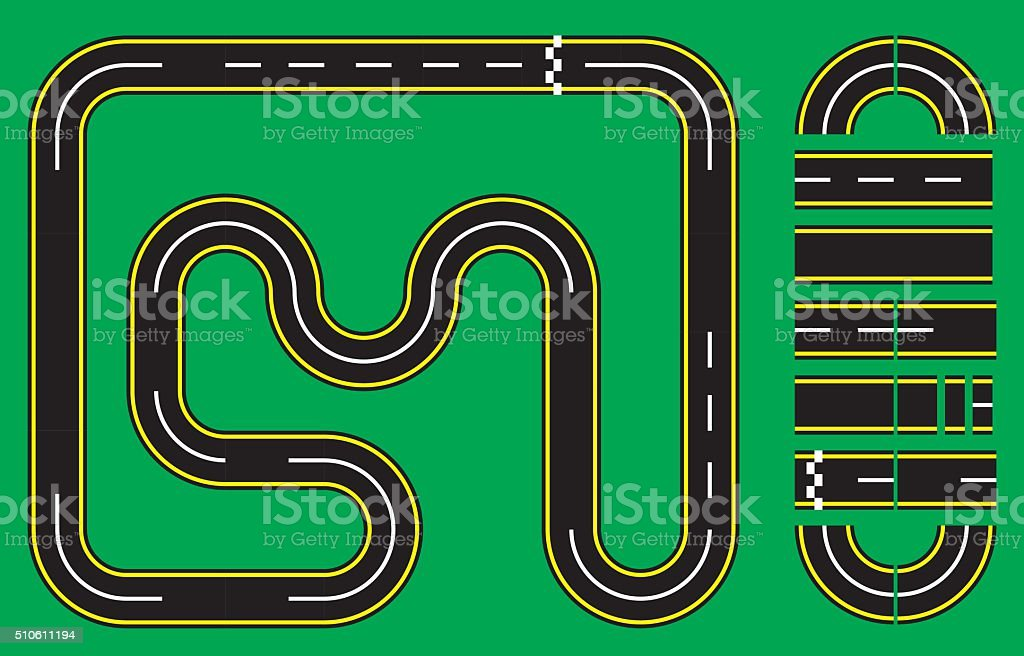 Racetrack Setup vector art illustration