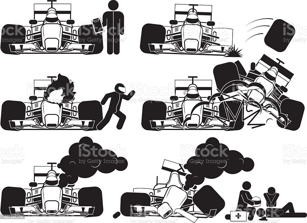 Racing Accident vector art illustration