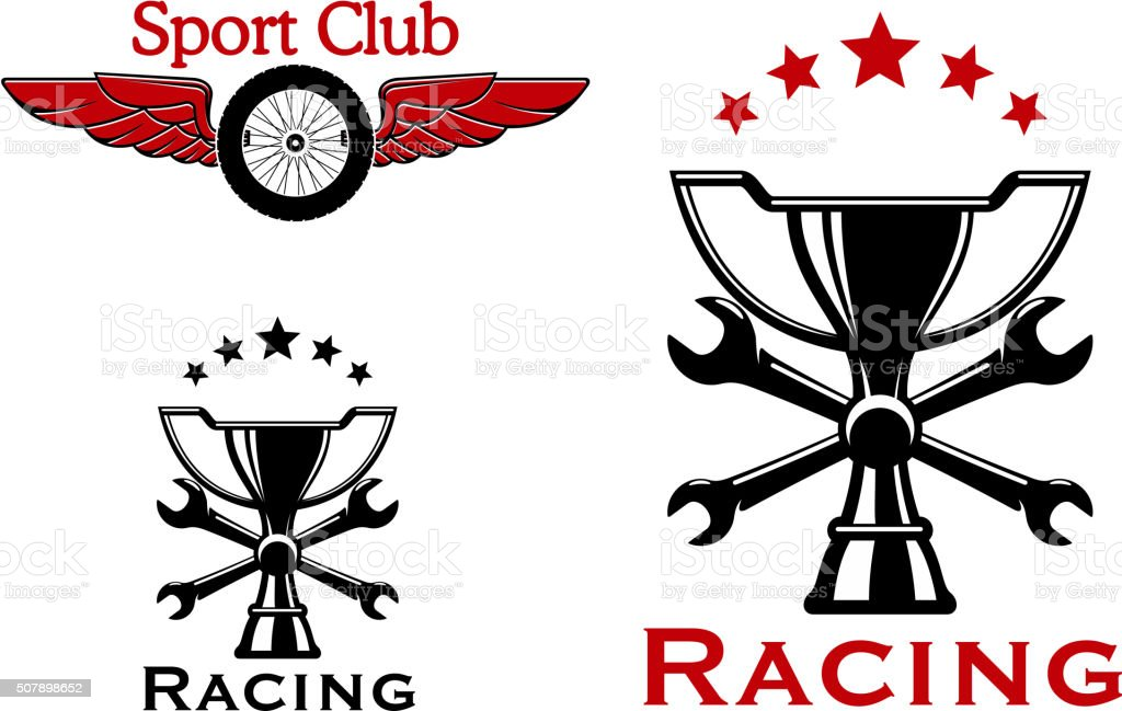 Winged wheel of race car and trophy cup with crossed spanners and...