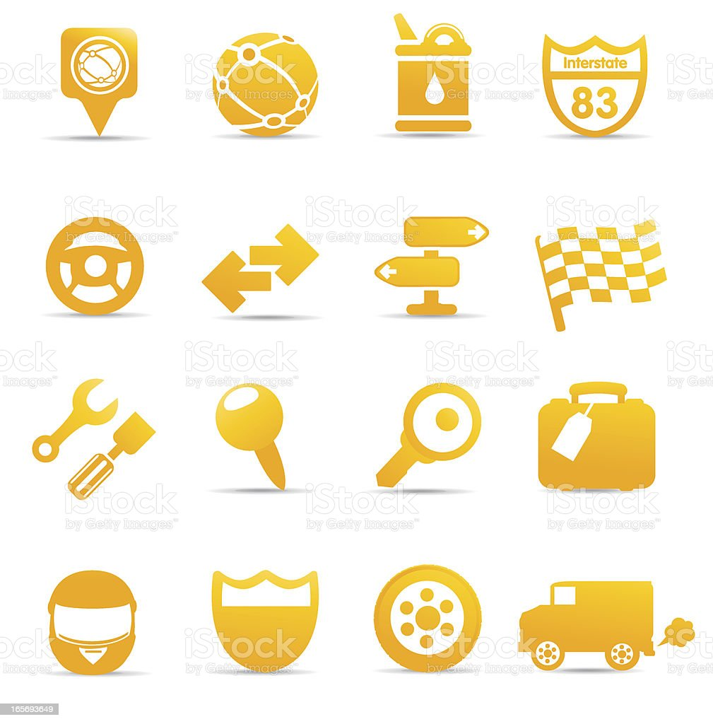 Racing and Road Icons royalty-free stock vector art