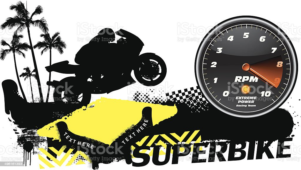 racing banner with superbike and tachometer vector art illustration