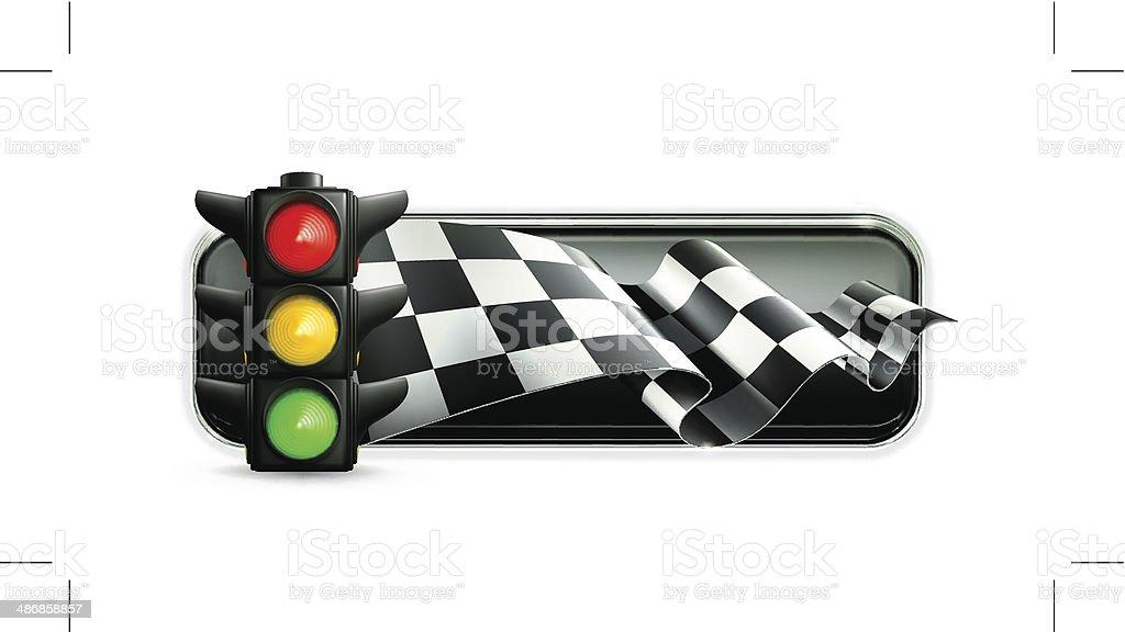 Racing banner with traffic lights vector art illustration