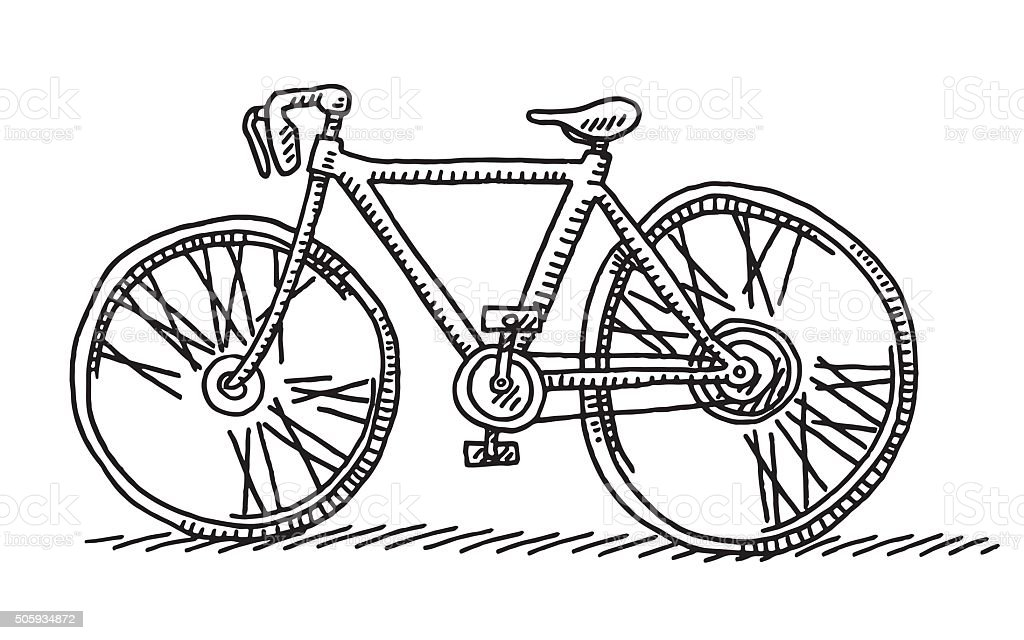 Racing Bicycle Side View Drawing vector art illustration