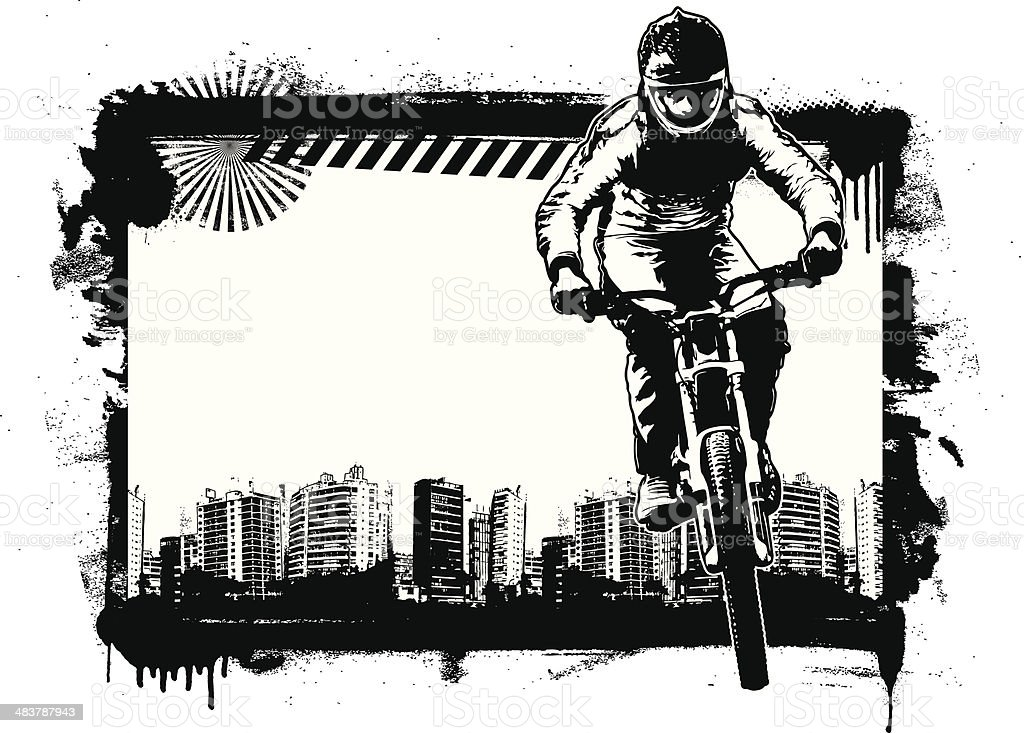 racing bike with grunge frame and urban background vector art illustration