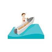 Racing boat cartoon icon
