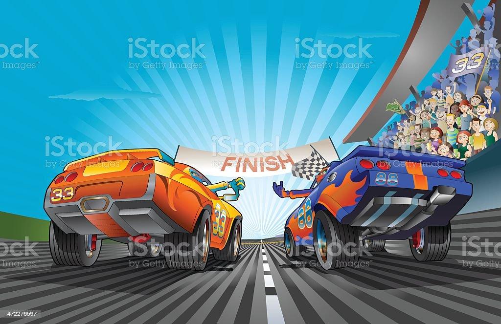 Racing Car fight vector art illustration