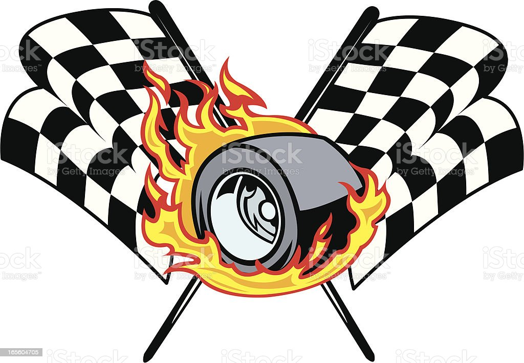 Racing Car Tire and Checkered Flag Design vector art illustration