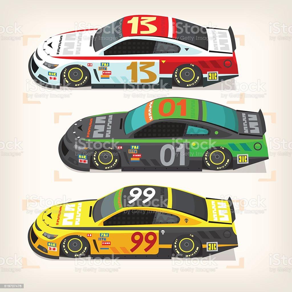 Racing cars vector art illustration