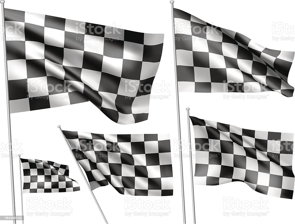 Racing chequered vector flags vector art illustration