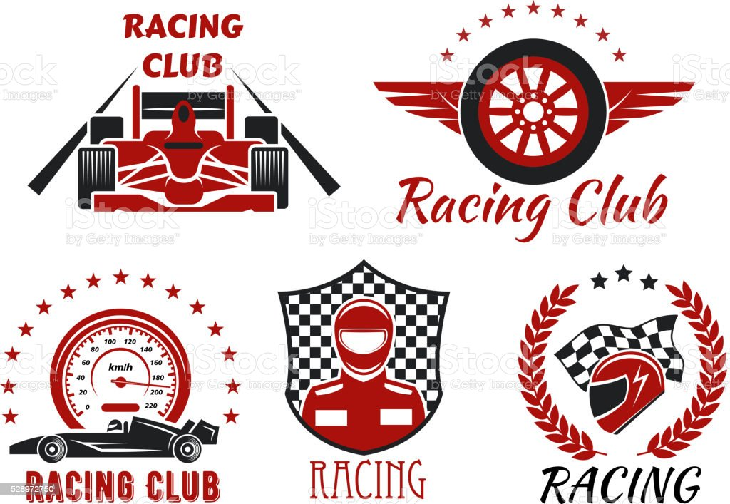 Racing club and motorsport competitions symbols with open wheel...