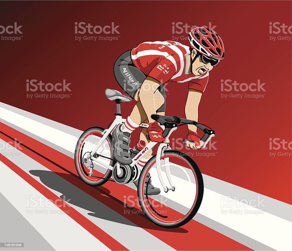 Racing Cyclist Spurt royalty-free stock vector art