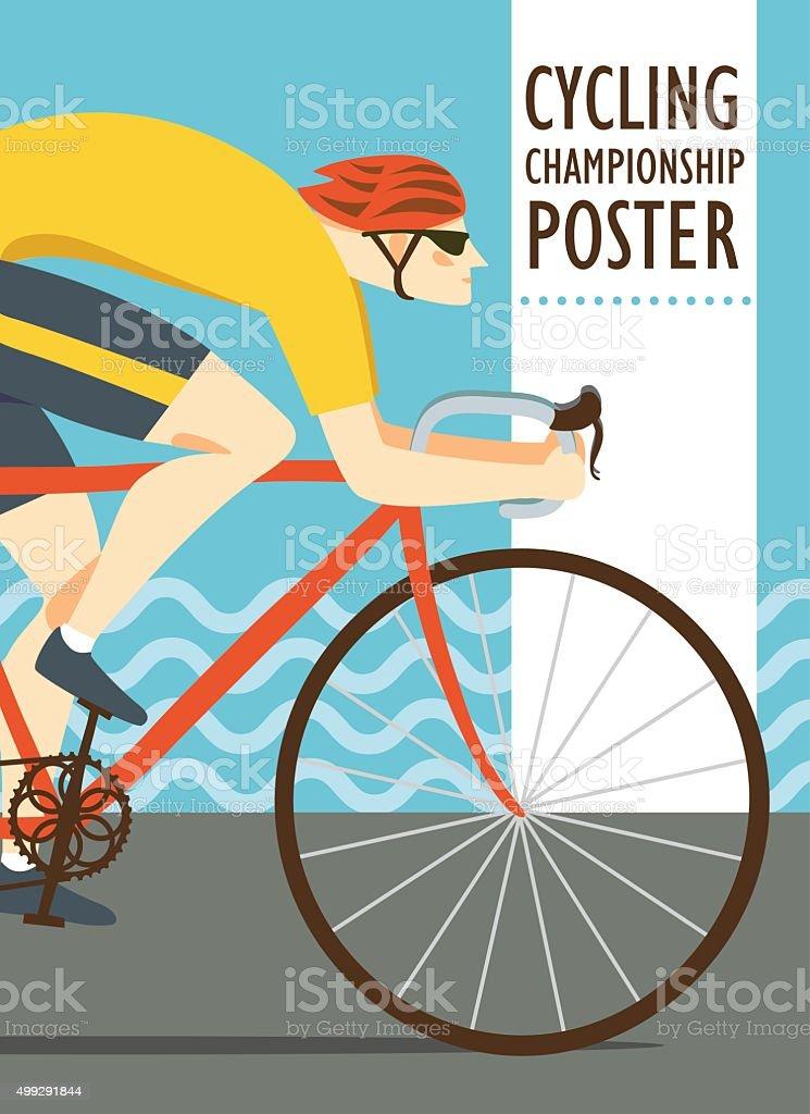 Racing cyclist vitage poster vector art illustration