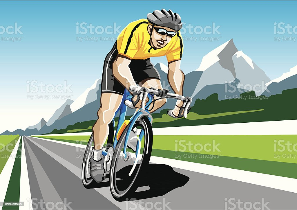 Racing Cyclist Yellow royalty-free stock vector art
