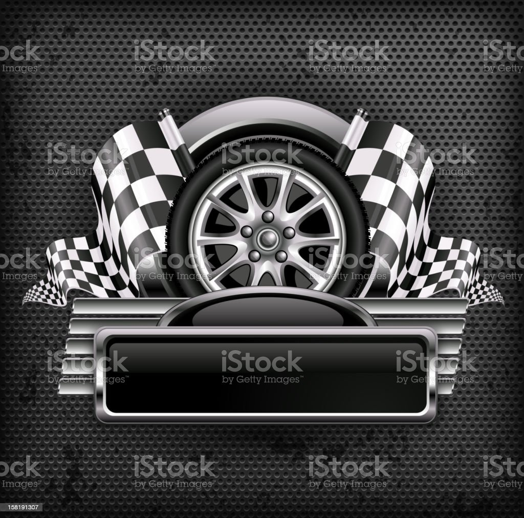 Racing emblem on black & text vector art illustration