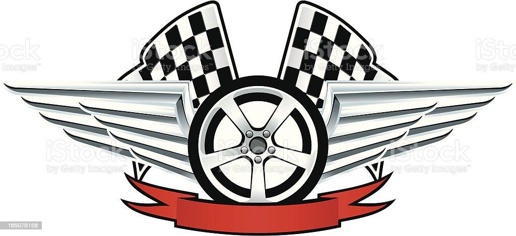 Racing emblem wheel and wings royalty-free stock vector art