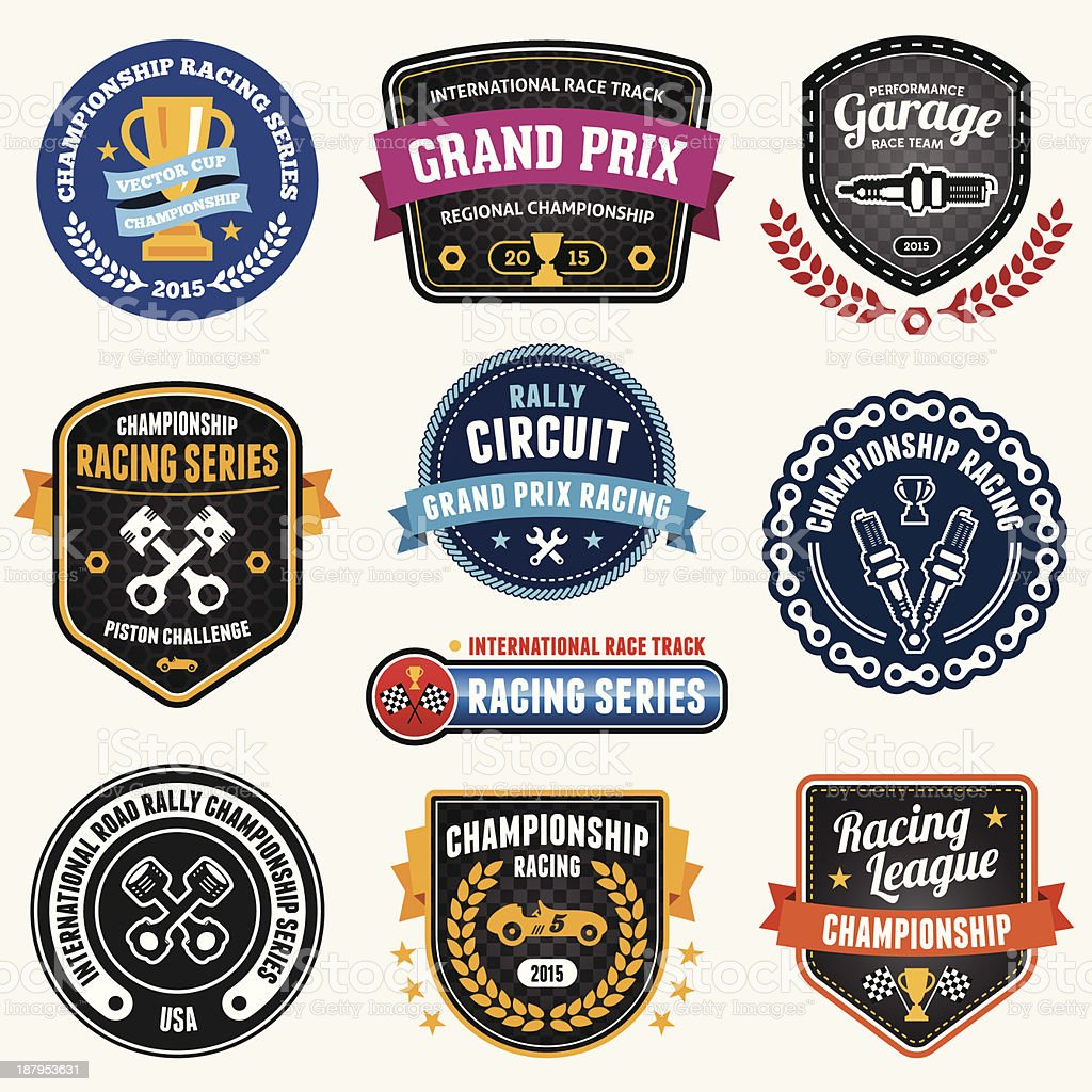 Racing emblems vector art illustration