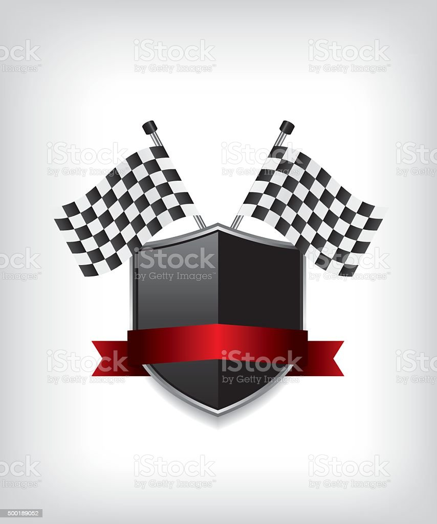 Racing flags and black shield vector art illustration