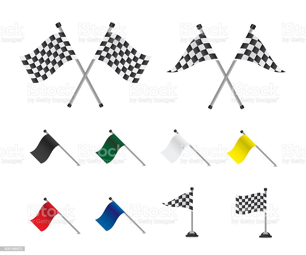 Racing flags set vector art illustration