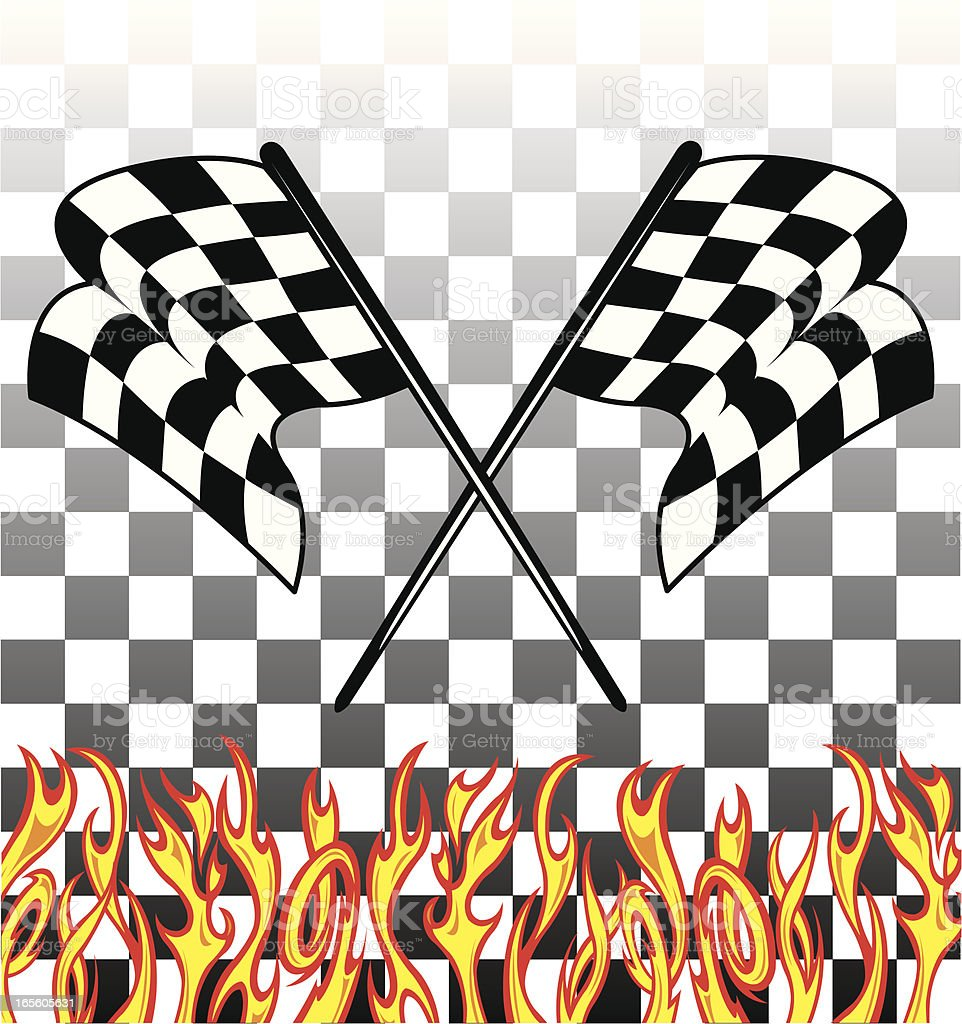 Racing Flags with Flames vector art illustration