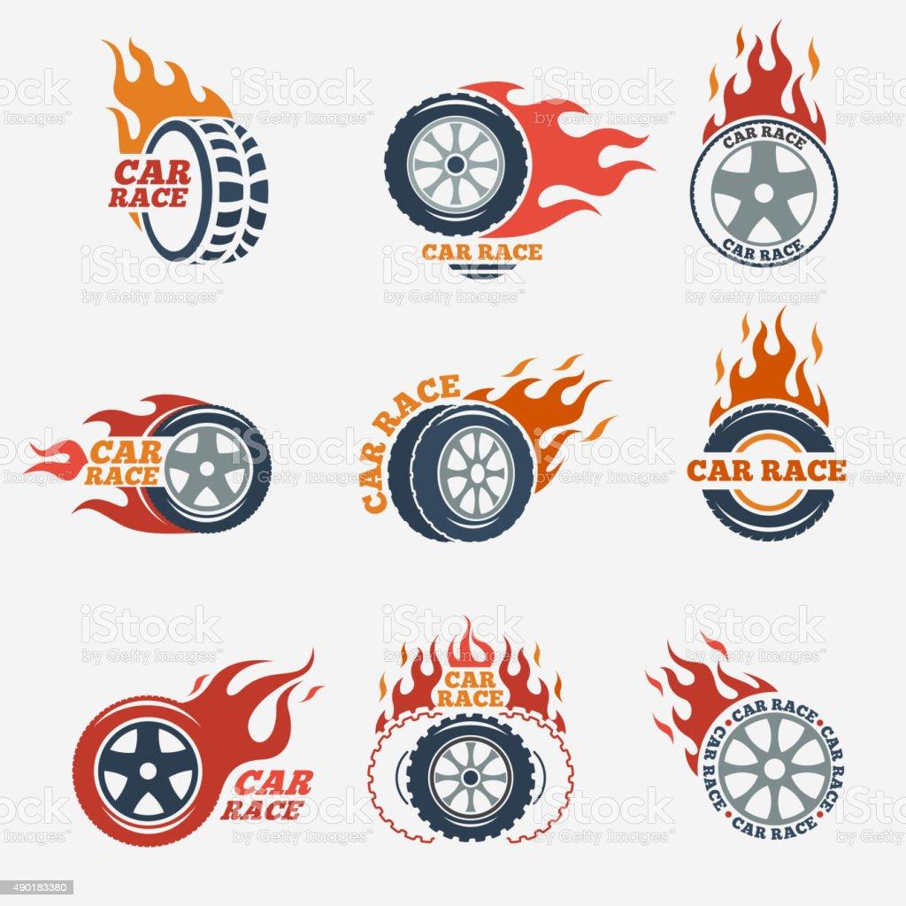 Racing flat labels vector art illustration