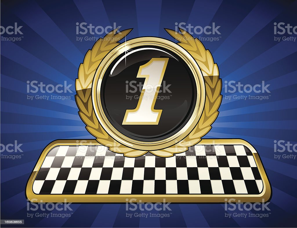 Racing gold first place emblem royalty-free stock vector art