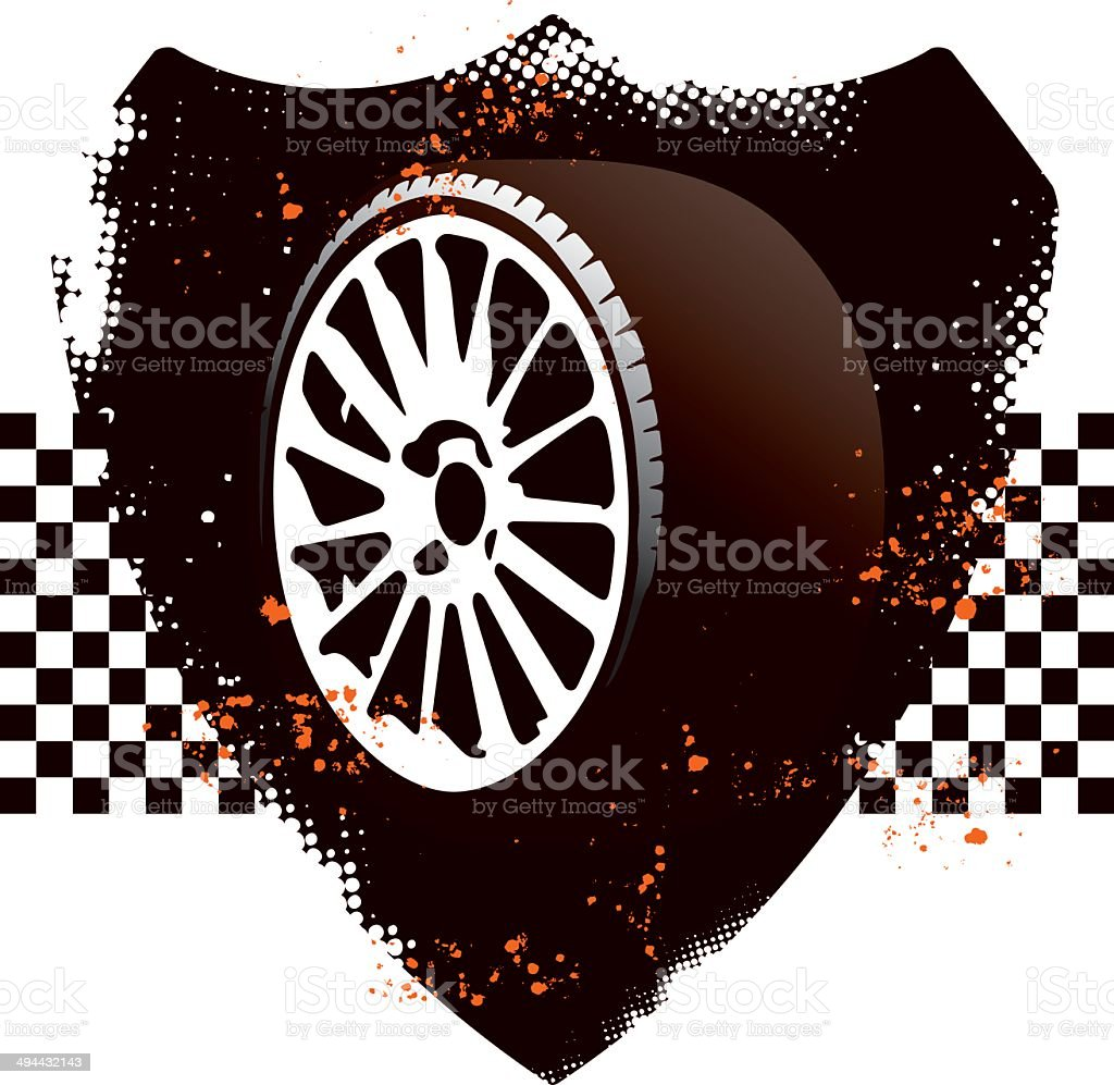 racing grunge shield with sport tires royalty-free stock vector art