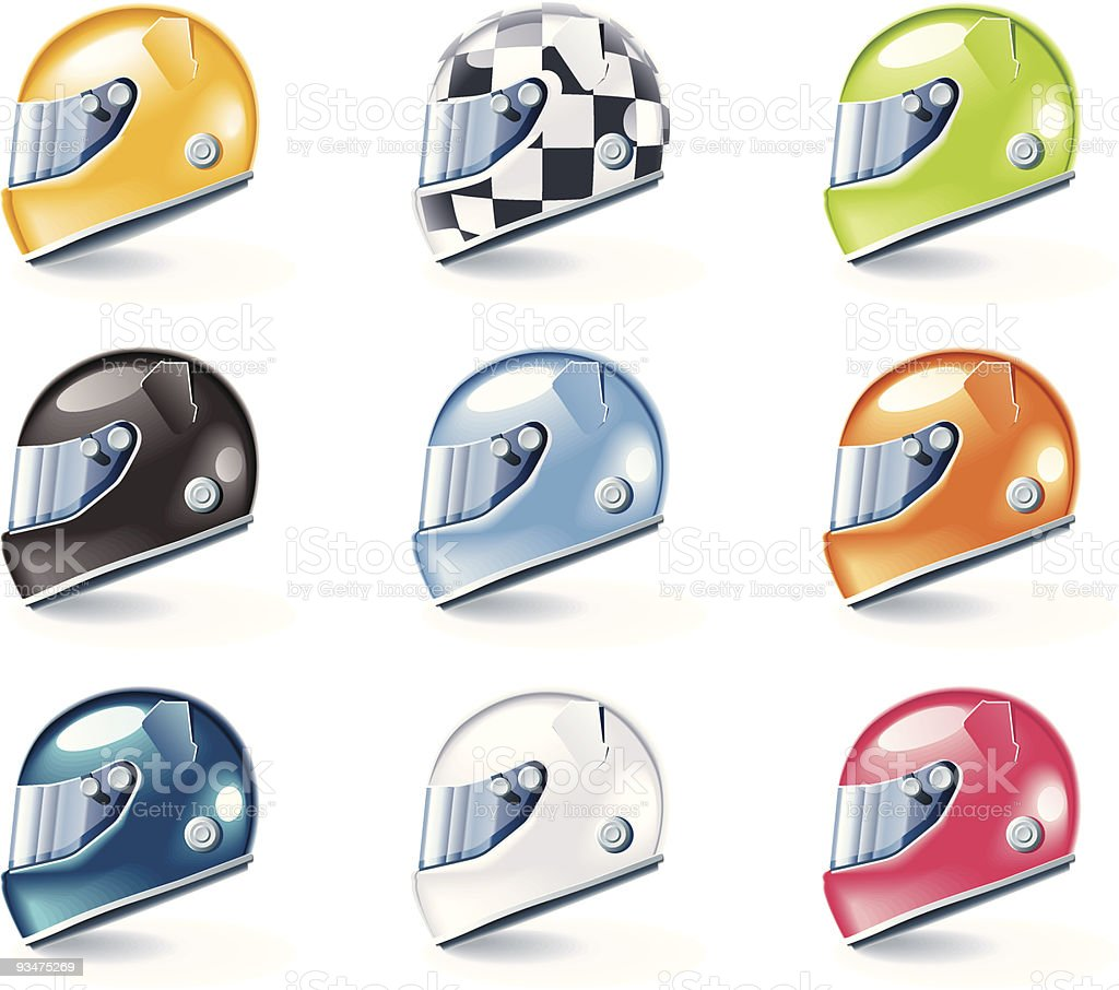 Racing helmets icons vector art illustration