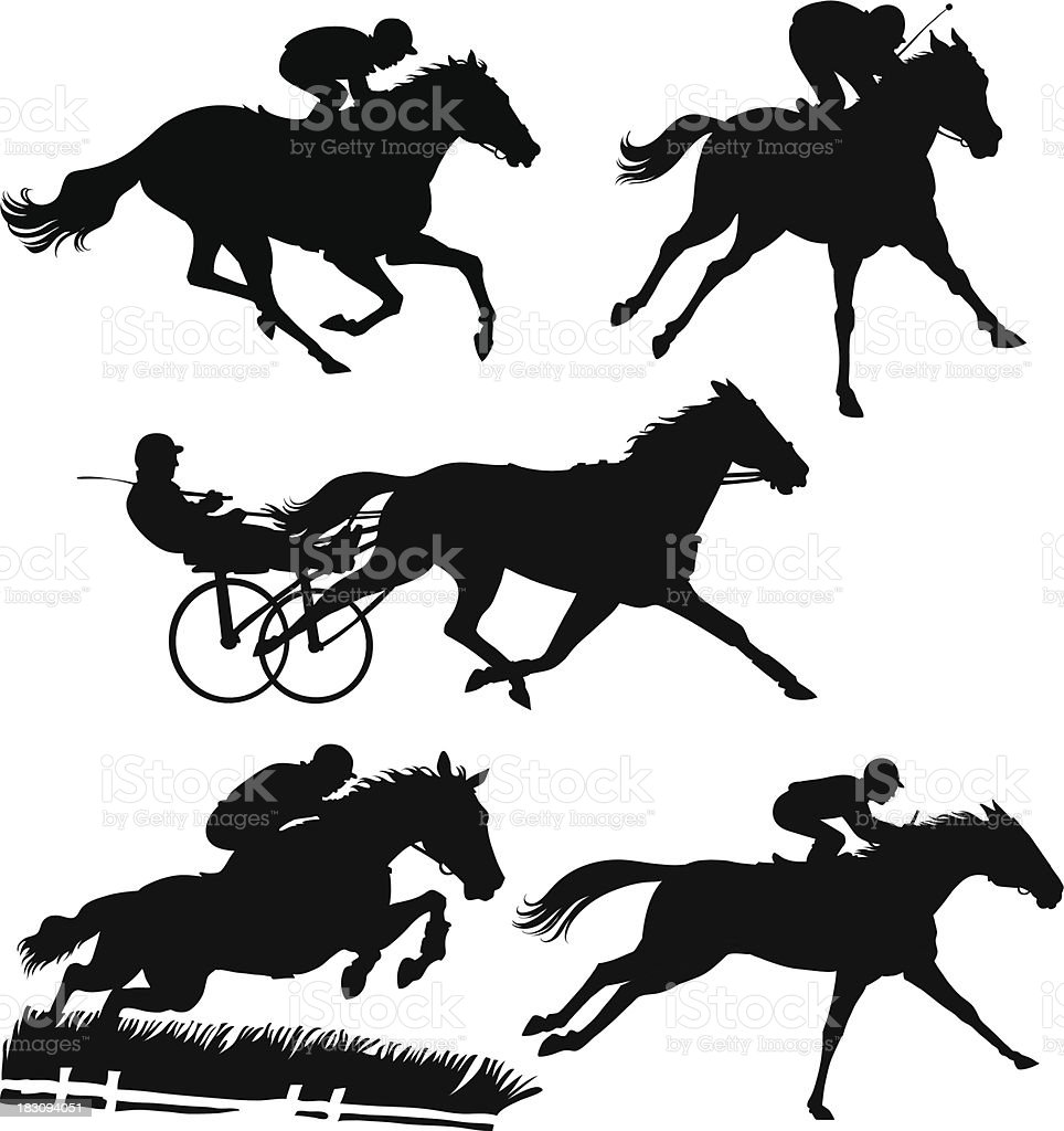 Racing Horses Silhouettes vector art illustration