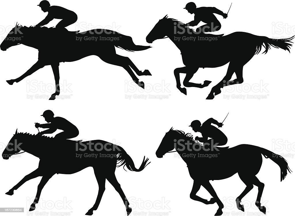Racing horses vector art illustration