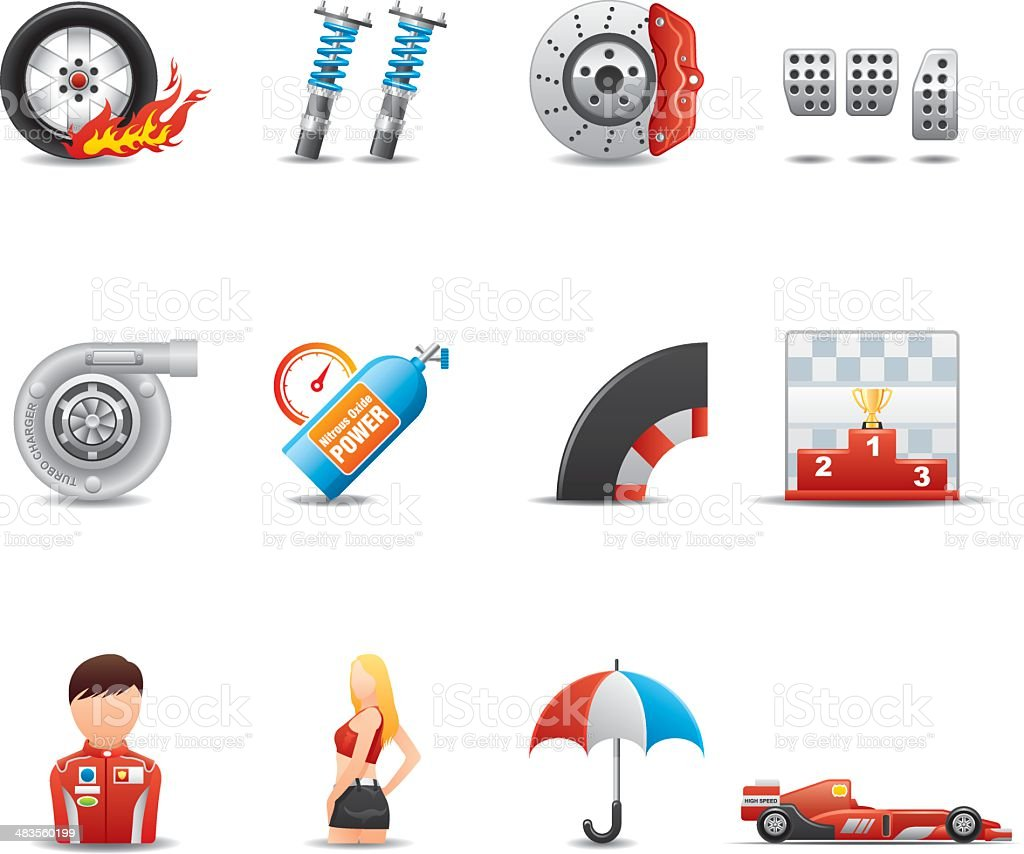 Racing Icon Set   Elegant Series vector art illustration