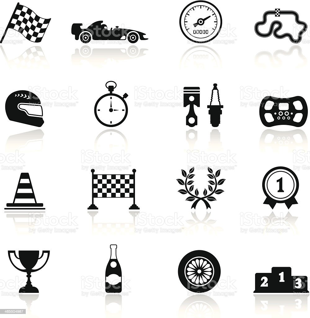 Racing Icon Set vector art illustration