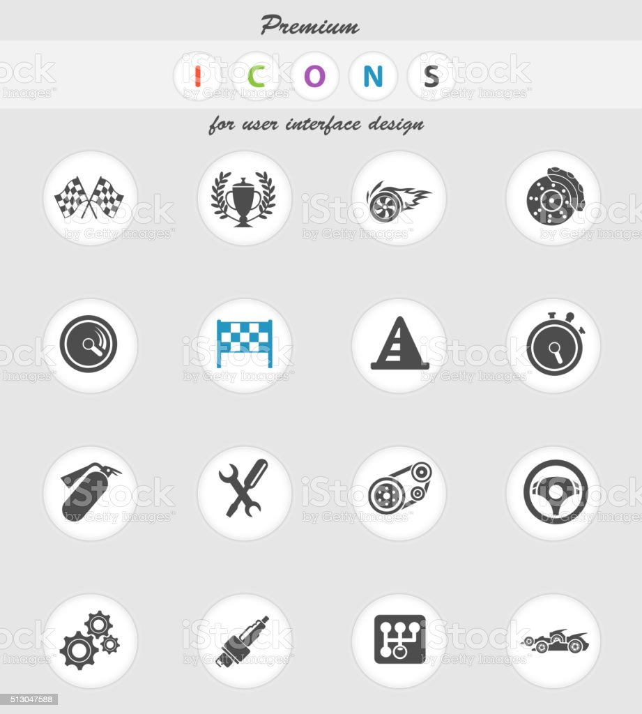 Racing icons set vector art illustration