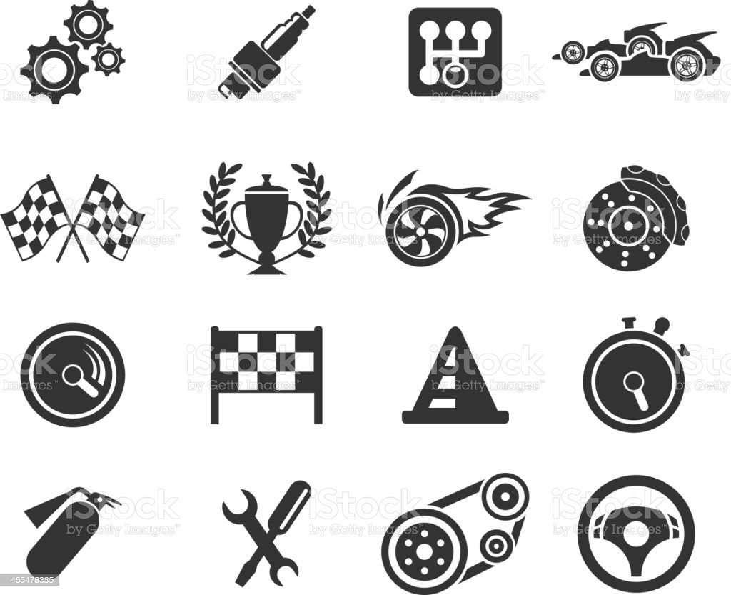 Racing icons vector art illustration
