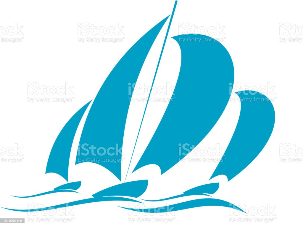 Racing in a yacht vector art illustration