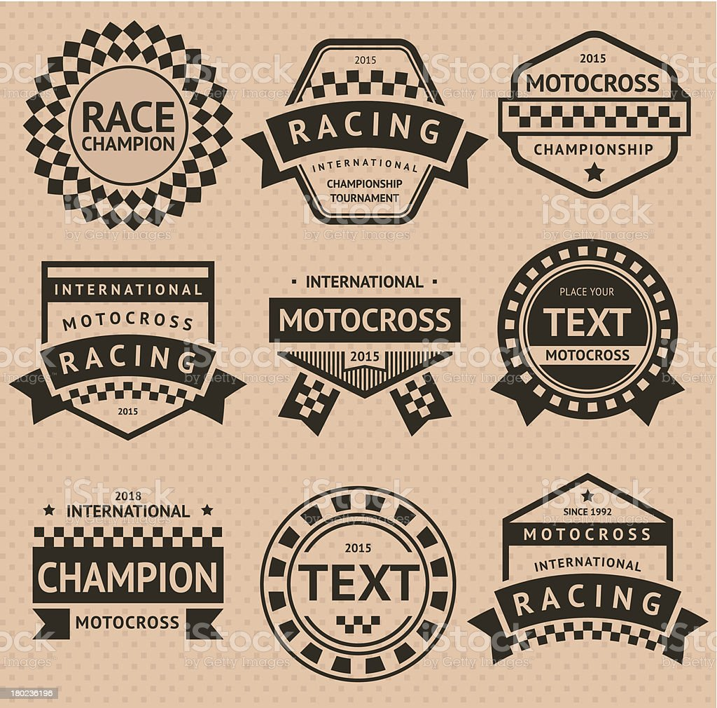 Racing insignia set, vintage style royalty-free stock vector art