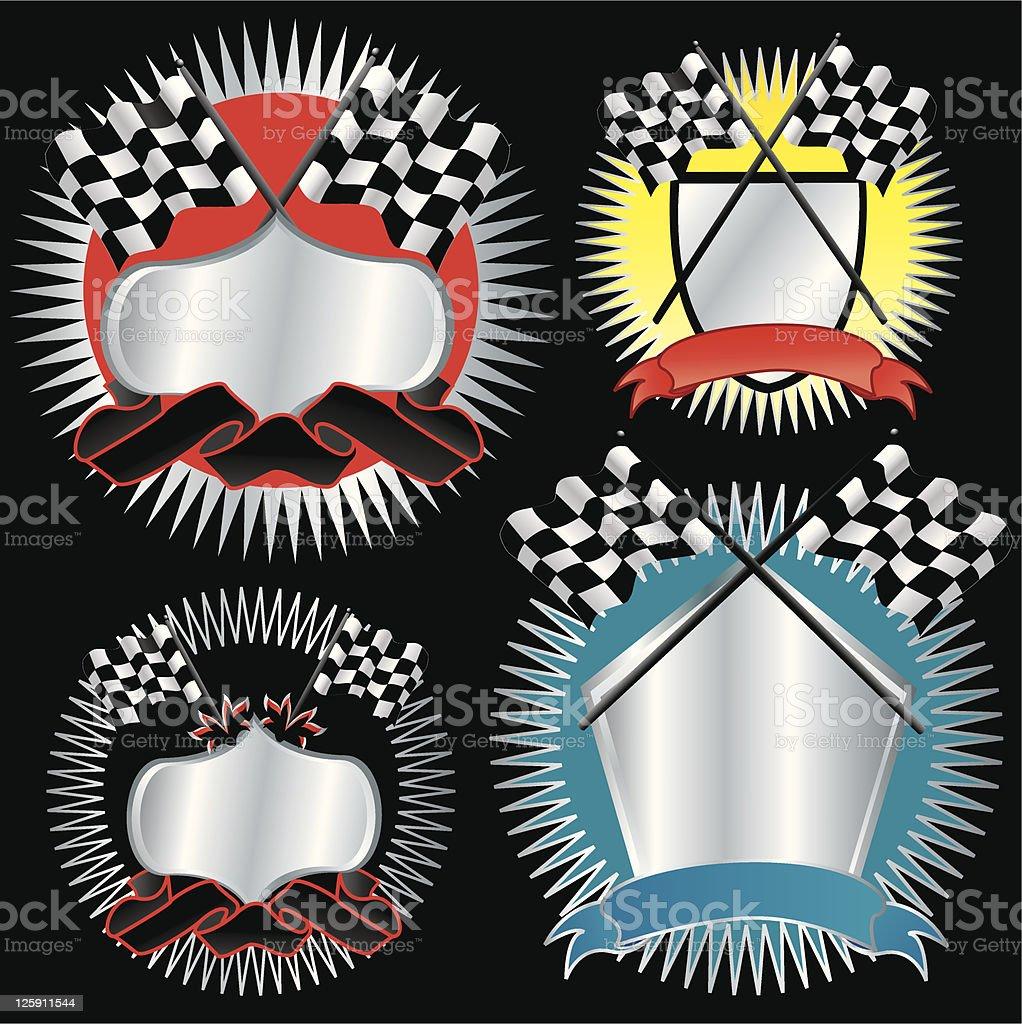 Racing Medallions vector art illustration