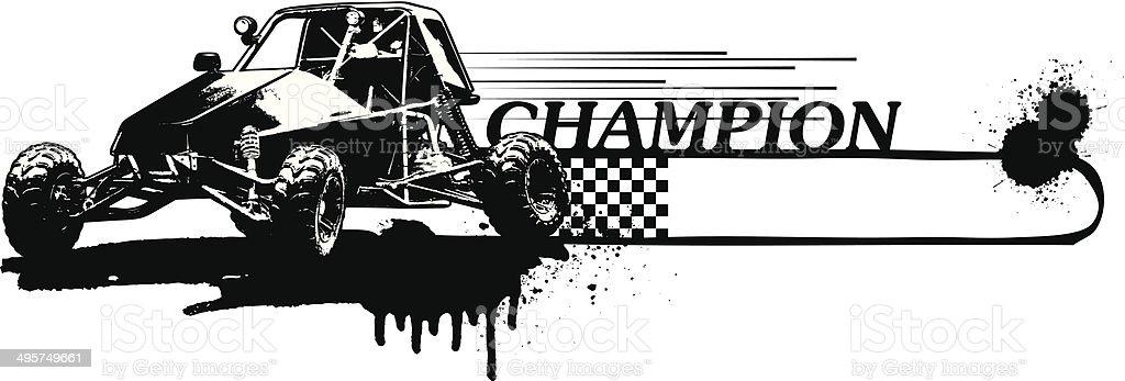racing sand car with grunge banner vector art illustration
