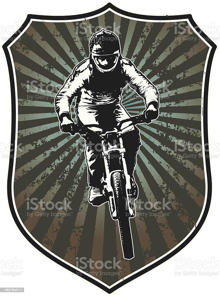 racing shield with bike rider vector art illustration