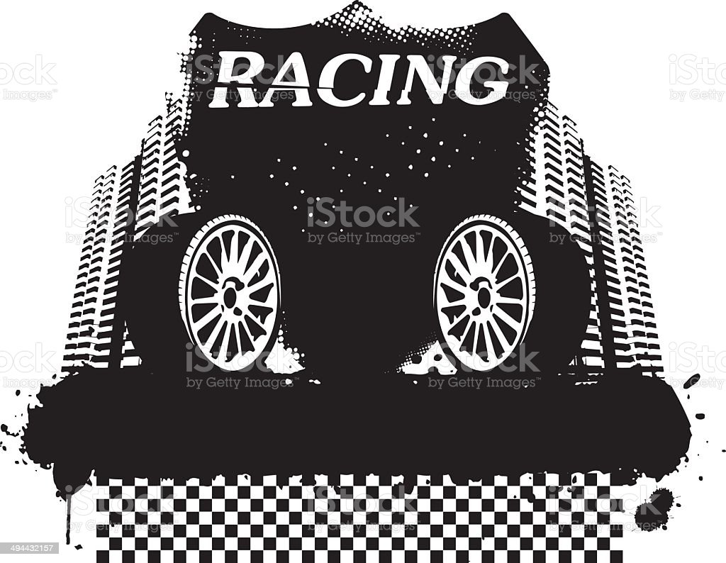 racing shield with grunge banner and wheel royalty-free stock vector art